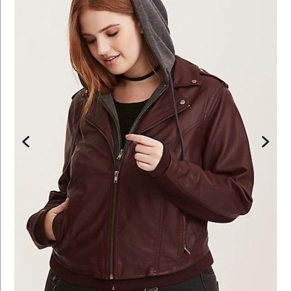 5b59e81eff8 NWT torrid size 4 layered burgundy Moto jacket